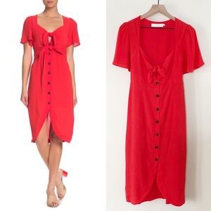 ASTR Coral Red High/Low Retro Dress